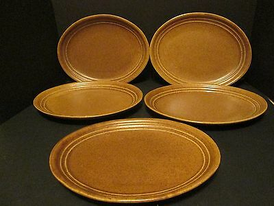 "(5) Monmouth Pottery 12"" Dinner Plates Platters Mojave Brown RARE SIZE USA Made!"