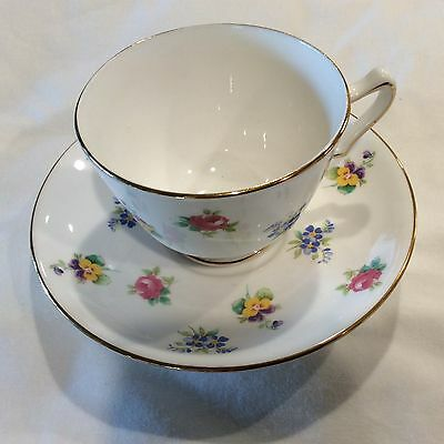 Vintage Crown Staffordshire Fine Bone China Tea cup and Saucer