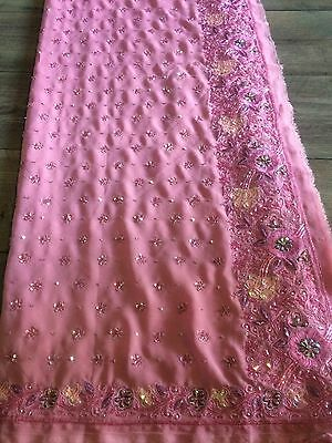 Indian Georgette Saree Bollywood - Dusky Pink Bead Work