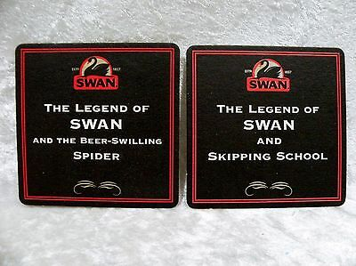 "Swan Brewery - 2 Coasters ""Beer Swilling Spider"" and ""Skipping School"""