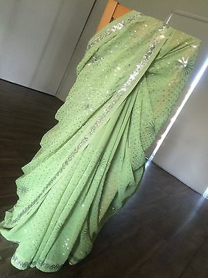 Bollywood Soft Lime Green Indian Georgette Saree with Silver Work