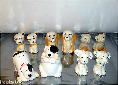Collection Lot of 5 sets with 2 Salt & Pepper Shaker, Ceramic, Dogs