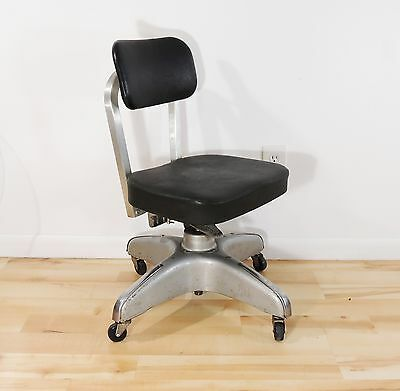 Vintage Original Rustic Industrial Metal Frame Adjustable Swivel Chair casters