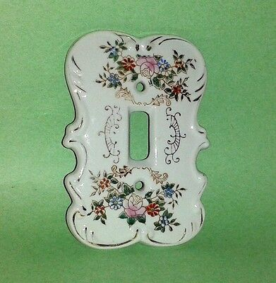 Antique Ceramic Light Switch Plate Cover ~ Hand Painted Flowers ~ Rare HTF
