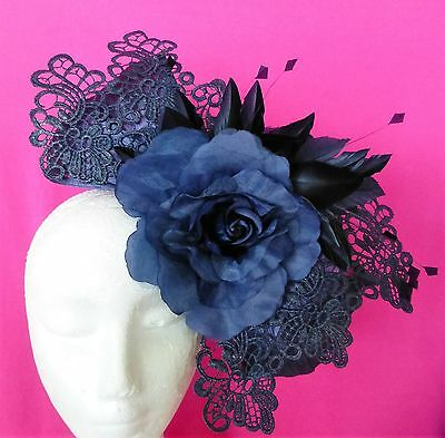 Navy Blue Flower Lace Hat Fascinator Feathers Races Wedding Millinery