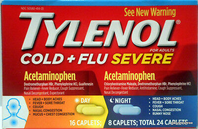 TYLENOL Cold + Flu Severe 16-Day & 8-Night Caplets 24 Total 7/17 Exp~Box Damaged