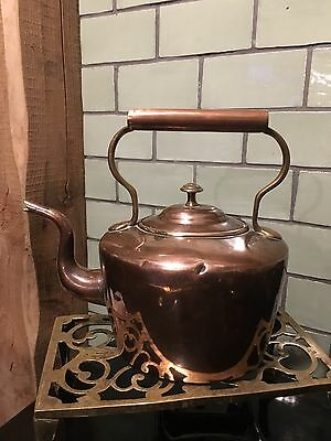 Beautiful Antique Solid Copper And Brass Kettle