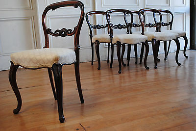 Set 6 Antique Victorian Mahogany Buckle Back Salon Dining Chairs Lovely Carving!