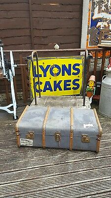 Wooden banded steamer trunk vintage trunk luggage suitcase decor prop rustic