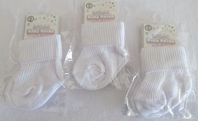 Pack of 3 baby white  ankle socks for boy or girl. New born, 0-3 Months