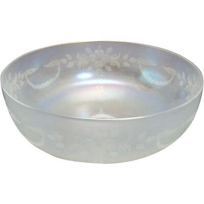 Steuben Verre de Soie Glass Center Bowl with Etched Flowers - 1910