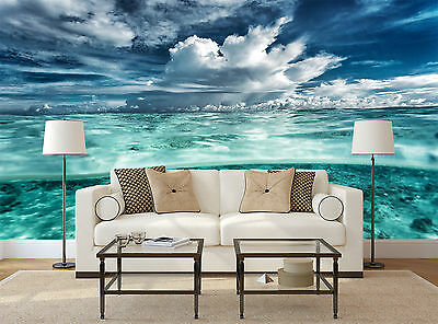 TROPICAL SEA SKY CLOUDS TEAL VIEW Wall Mural Photo Wallpaper GIANT WALL DECOR