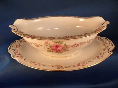 Antique Occupied Japan Monarch China Porcelain Gravy Boat Attached Plate Roses