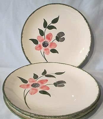 Blue Ridge Southern Potteries Pinkie Dinner Plate Green Trim set of 4