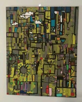 Original  MODERN ART ABSTRACT HAND PAINTED AND SIGNED-R.MULLINIX