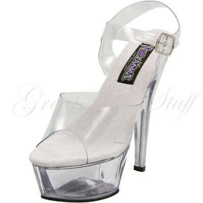 fedb5abd0ece FUNTASMA Platform Sandal Ankle Strap Costume Stripper High Heels BROOK-208  Clear