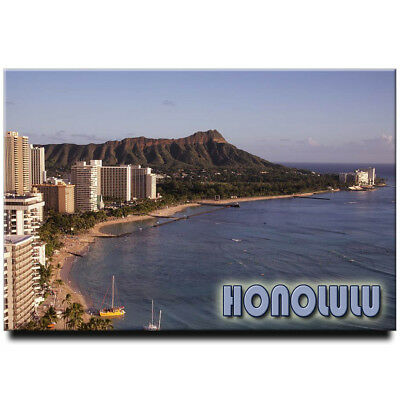Waikiki Diamond Head fridge magnet Honolulu  Oahu Hawaii travel souvenir
