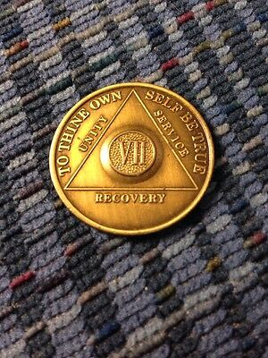 True Vintage Alcoholics Anonymous AA 7 year VII Bronze Chip Coin Token Medallion