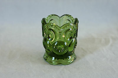 Vintage Le Smith Glass Green Color Moon & Star Pattern Toothpick Holder