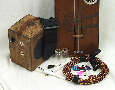 Cigar Box Guitar - 3 string acoustic or electric with amp - Oak Neck, Fretted