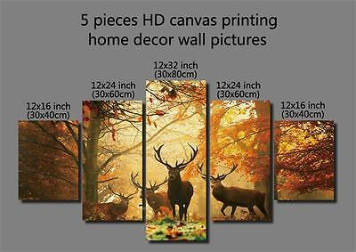 5 Pieces HD Canvas Printing Home Decor Wall Arts Pictures Forest Deers