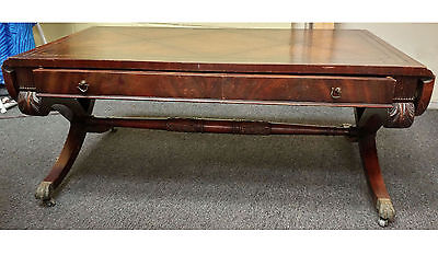 WEIMAN HEIRLOOM DROPLEAF LEATHER TOP COFFEE TABLE Regency Style (?) Neo-Classic