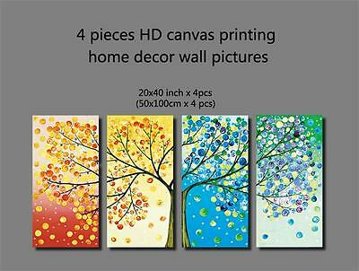 4 Pieces HD Canvas Printing Home Decor Wall Arts Pictures four seasons tree