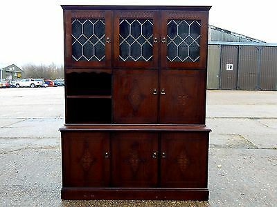 Oak glazed dresser display cabinet wall unit bookcase georgian old charm style