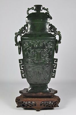 Fine Old China Chinese Carved Spinach Green Jade Urn Vase Sculpture Art