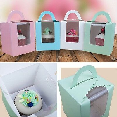 1/10Pcs Single Cupcake / Muffin / Fairy Cake Boxes With Clear Window Gift Box
