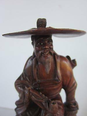 Antique Chinese Carved Rosewood Statue Man REMOVABLE HAT WITH PIPE TEETH