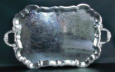 """FB Rogers Silver Plated Waiters Serving Tray Footed Scalloped Edge 28"""" x 17"""""""