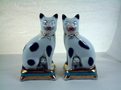 "ANTIQUE STAFFORDSHIRE Pair of CATs w/Kittens 7.25"" White/Black/Gold/Turquoise"