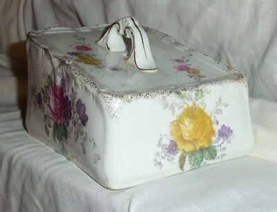 ROSE DESIGN BUTTER DISH COVER with HANDLE - ROSE FLORAL DESIGN  (COVER ONLY)