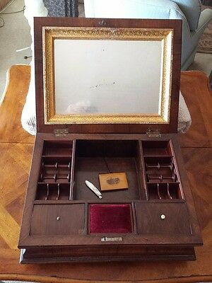Rare Vintage English Wood Sewing Box With Sterling Silver Blade Pen Knife