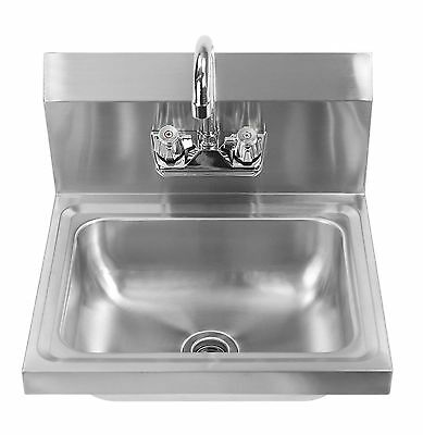 Stainless Steel Commercial Wall Mount Hand Sink With Direct Faucet Laundry One 1