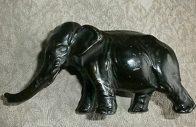 Antique Vintage Black Painted Lead / Spelter? Elephant