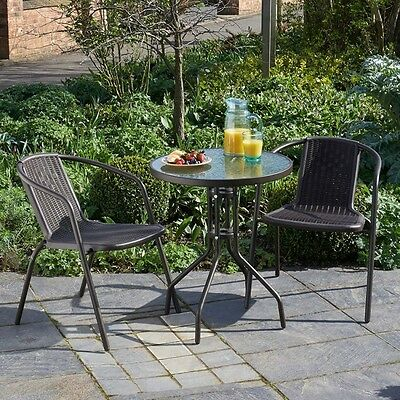 Garden Bistro Set Outdoor Patio Furniture Coffee Glass Table Seats Chairs Metal