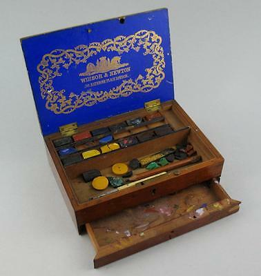 Antique Winsor & Newton Mahogany Watercolour Paint Box with Drawer