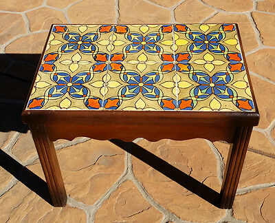 Rare Vintage Early California Malibu Pottery Tile Top End Table Wooden 6 Tiles
