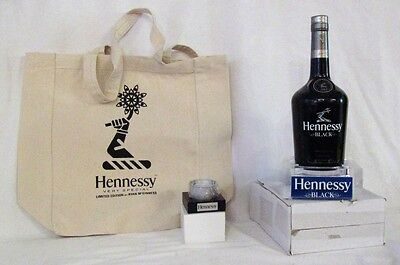New 3 Pieces HENNESSY Tote Bag, Candle Holder, Acrylic Light Up Bottle Glorifier