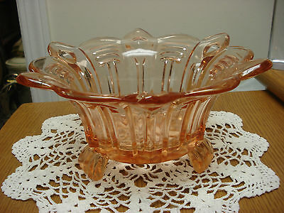 "10"" Large 1.35kg peachy pink rose GLASS Depression 3 FOOTED BOWL Ground Foot B3"