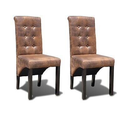 New Faux Artificial Leather Dining Chair Padded Stylish Wood Backrest 2/4/6 pcs