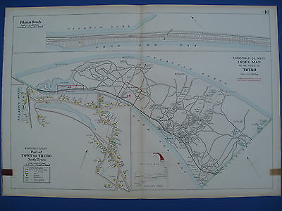 Original 1910 Map of Truro Cape Cod MA Barnstable County by George Walker
