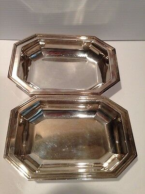 VINTAGE  WALLINGFORD Silverplate DECO BOWL SET 2 SERVING DISH 1903-1941