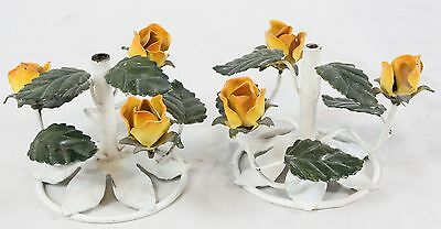 Vintage Italian Tole Pair Candle Holder Bases Yellow Floral Metal Tag