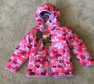 North Face Infant Girls Reversible Mossbud Coat Hoodie Jacket Nwt Pink Print