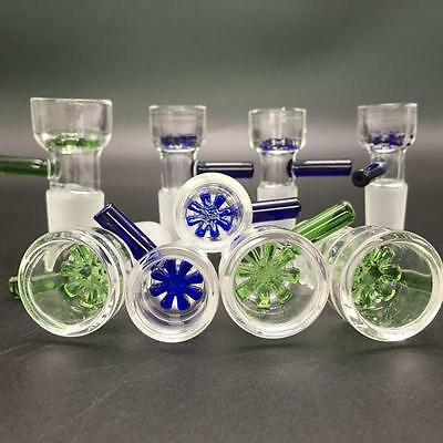 14mm 2 Inch Star Screen Glass Slide Bowl - Green Blue Clear