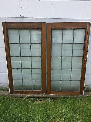 "2 ANTIQUE 22 3/8"" x 42 1/4"" LEADED 15 PANE GLASS CUPBOARD CABINET DOORS PICKUP"