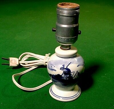 "Vintage Dutch Miniature Delft 6"" Lamp Hand Painted In Holland Signed Porcelain"